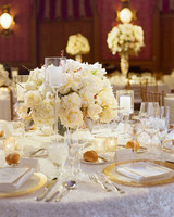 White Centerpieces with Glass High and Low Candles