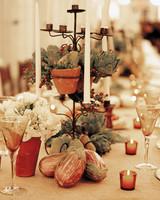 Eggplant and Artichoke Wedding Centerpiece