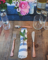 Rustic Wood and Blue-Striped Table Setting