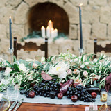 Sprawling Fall Centerpiece with Flowers and Produce