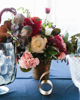 Centerpiece with Red, Pink, and White Flowers