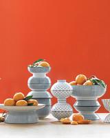 Orange and Vessel Wedding Centerpiece