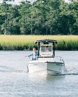 Groom Arriving on Boat