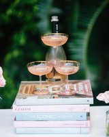 Pink Champagne Tower at a Bridal Shower