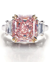 Pink Asscher-Cut Engagement Ring on Platinum Band