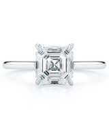 Kwiat Asscher-Cut Solitaire Engagement Ring on Simple Platinum Band