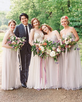 Bride and Bridal Party Wearing Flower Crowns