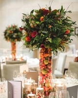fall centerpiece with filled vase