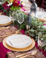 Fuschia, Green, and Gold Table Settings