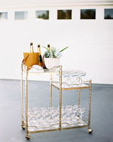 Gold Bar Cart with Champagne and Sparkling Wine