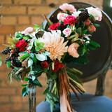 Fall Wedding Bouquet with Long Silk Ribbon
