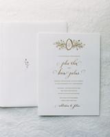 white and gold classic wedding invitation
