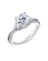 Scott Kay Cushion-Cut Engagement Ring with Twisted Pavé Band