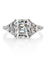 Single Stone Asscher-Cut Vintage Engagement Ring on platinum setting