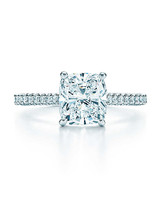 Tiffany & Co Cushion-Cut Diamond Engagement Ring with Pave Band
