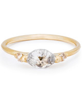 Polly Wales Marquise-Cut Engagement Ring with Rustic-Style Gold Band