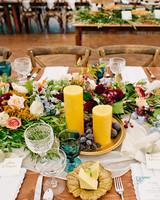 britt courtney wedding minnesota fall centerpiece