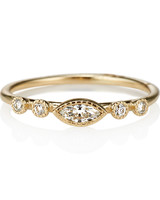 Jennie Kwon Simple Marquise-Cut Engagement Ring with Gold Band