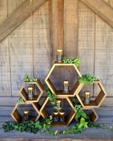 Honeycomb Wedding Inspiration, Honeycomb Shaped Favor Shelf with Honey Favors
