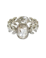 Cathy Waterman Platinum and Diamond Rustic Diamond Wheat Ring with Recycled Metal and Ethically Sourced Stones