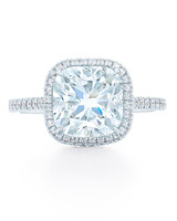 Kwiat Cushion-Cut Diamond Engagement Ring with Square Halo
