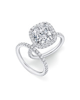 Harry Winston Cushion-Cut Diamond Ring with Micropave Band