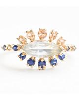 Mociun Marquise-Cut Sapphire Cluster Engagement Ring