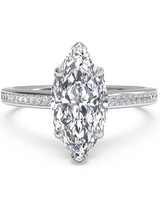 Ritani Marquise-Cut Micropavé Engagement Ring with Solitaire Diamond