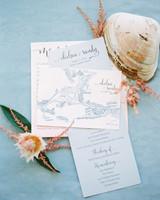 blue illustrated beach wedding invitation