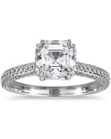 Blue Nile Asscher-Cut Heirloom Micropavé Diamond Engagement Ring