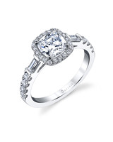 Sylvie Collection Cushion-Cut Diamond Ring with Side Baguette Diamonds