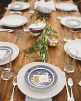 jessie-tristan wedding tennessee table setting blue willow china