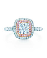 Tiffany & Co. Cushion-Cut Engagement Ring with Pink and White Diamond Halo