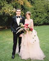 Bride Wearing Pale Peach Ruffled Wedding Gown