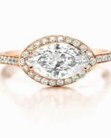 Forevermark Marquise-Cut Engagement Ring with Yellow Gold Band and Diamond Halo