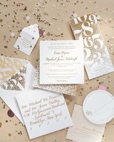 Sparkling Gold Wedding Invitations with Confetti and Calligraphy