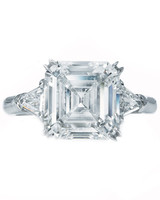 Asscher-Cut Diamond Engagement Ring with Baguette Diamonds on Side