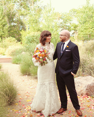 A Rustic Pink-and-Orange Wedding in Texas