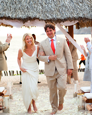 An Orange-and-White Intimate Beach Destination Wedding in Mexico