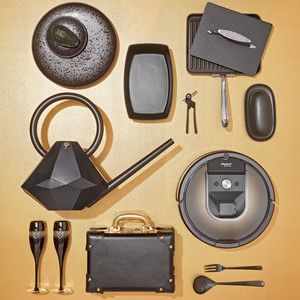 black registry products on gold background