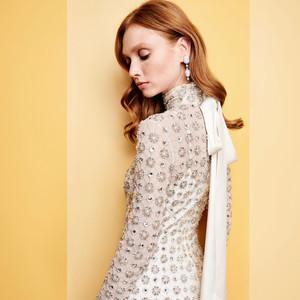 high neck lattice bridal gown