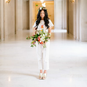 Bride in a Short Sleeve Jumpsuit