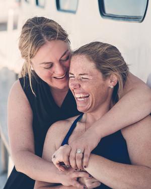 Vanessa and Lauren's Wedding Weekend Whale Watch in Maine