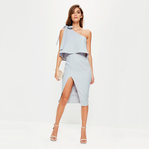 missguided one-shoulder bow sleeve midi dress