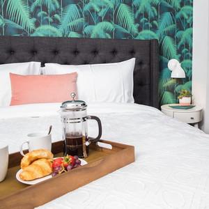 breakfast on hotel bed