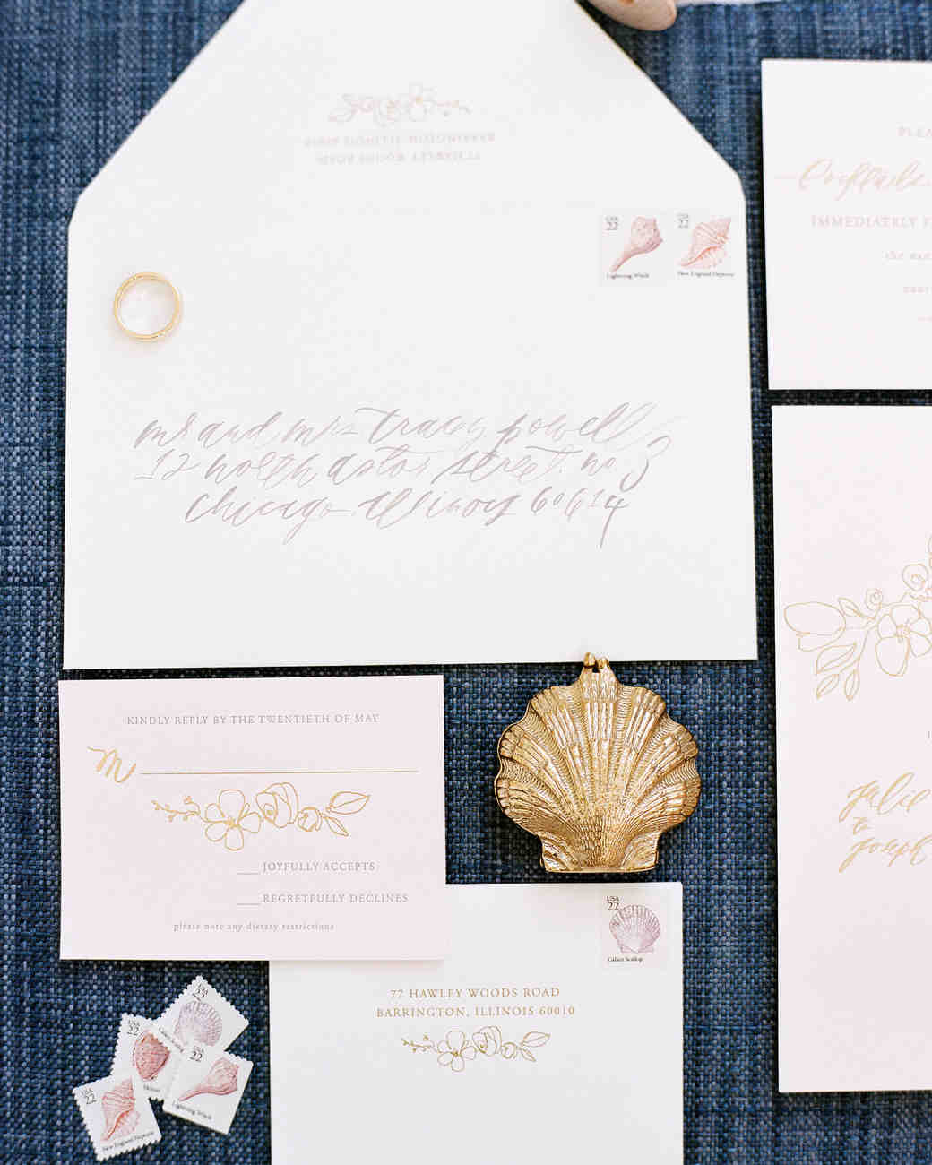 nautical light pink wedding invitation