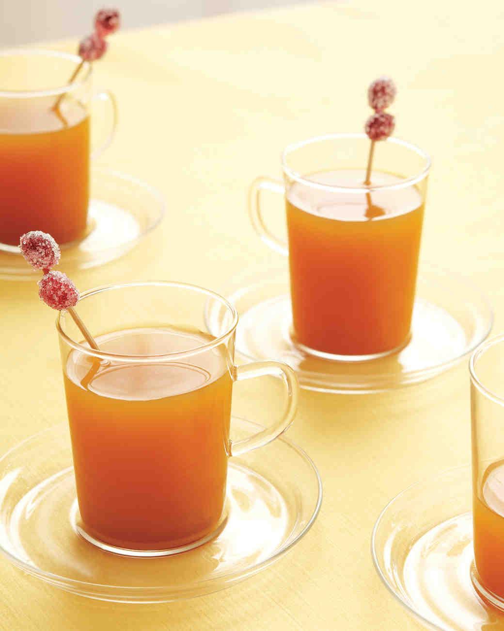 Hot Apple Cider with Sugared Cranberries