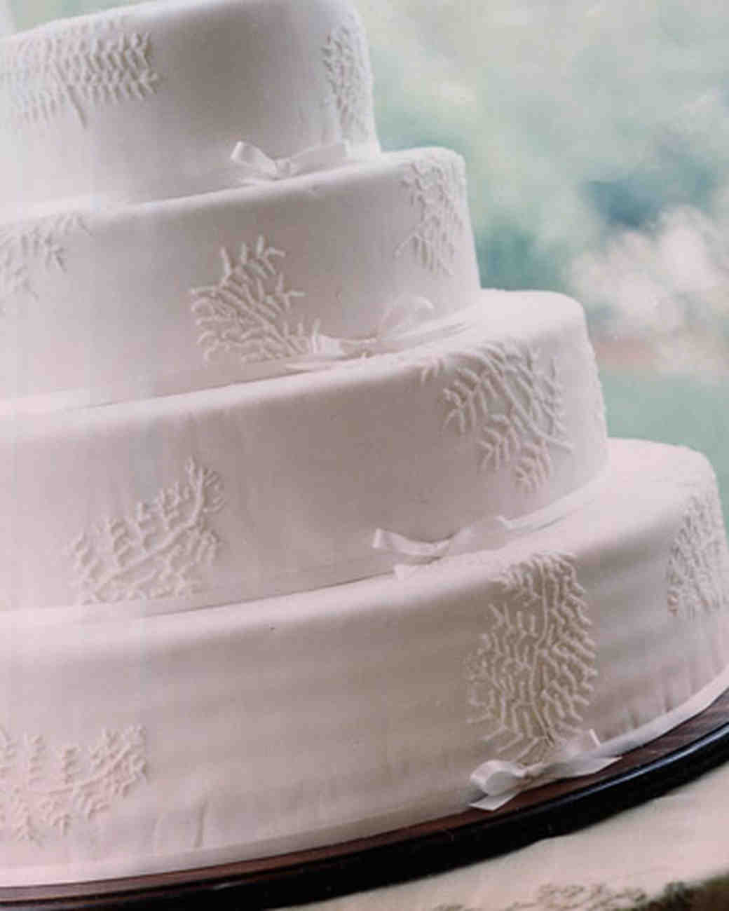 White Wedding Cake with Lacey Fern Details