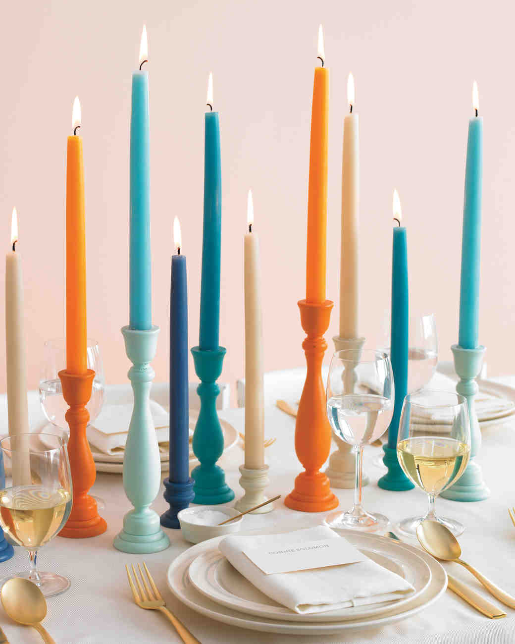 Blue and Orange Wooden Candleholders