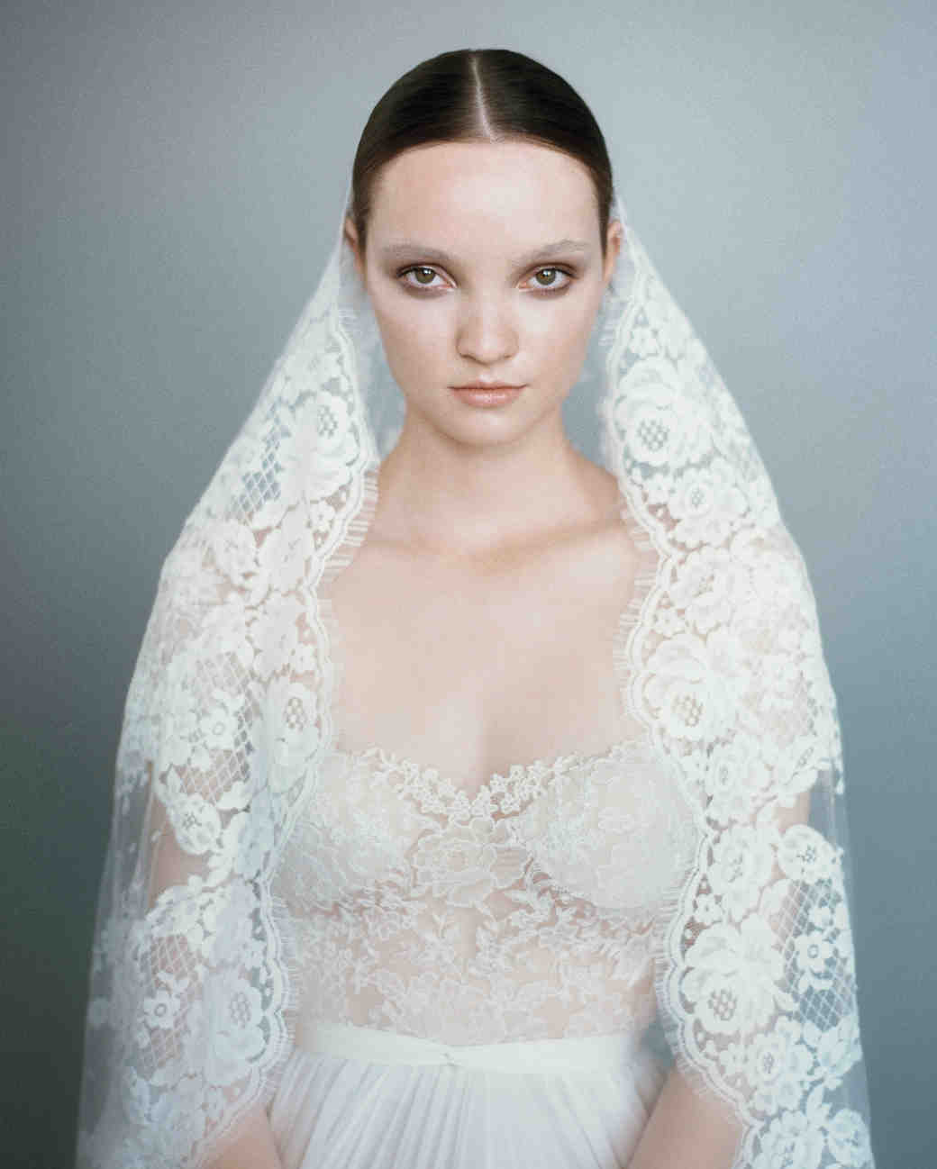 wedding veil ideas elizabeth messina wedding veils Lace Mantilla Veil